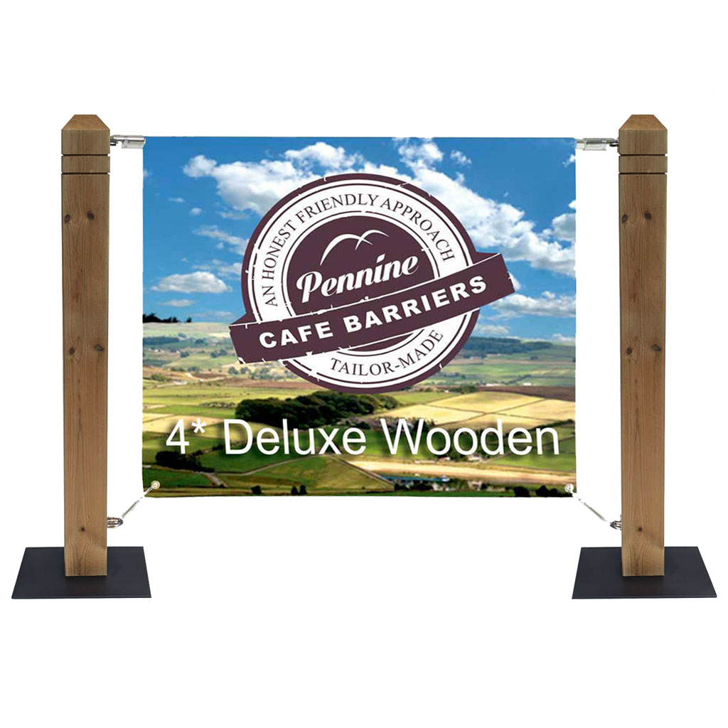 Cafe Barriers and Cafe Banners From Pennine Cafe Barriers Rustic Pallet Style Wooden Cafe Planter 4* Heavy Duty Wooden Post System