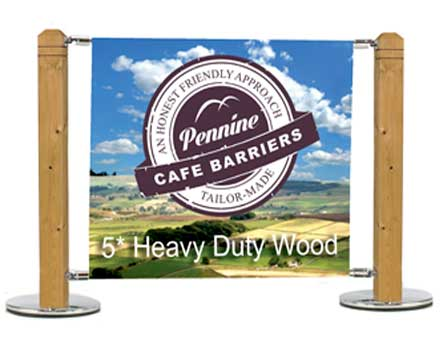 Cafe Barriers and Cafe Banners From Pennine Cafe Barriers Heavy Duty Wooden System