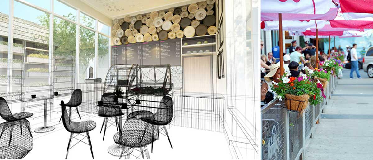 Cafe Barriers and Cafe Banners From Pennine Cafe Barriers - Bespoke Installations