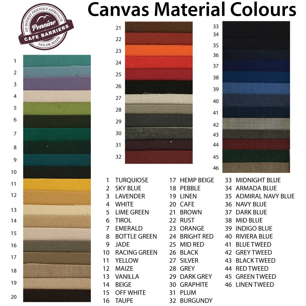 Cafe BArriers Canvas Banner Material Colours Available From Pennine Signs Cafe BArriers