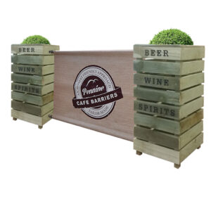 Cafe Barriers and Cafe Banners From Pennine Cafe Barriers Rustic Pallet Style Wooden Cafe Planter Rustic Pallet Style Wooden Cafe Planter
