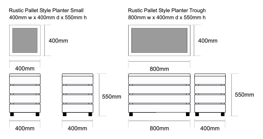 Industrial Planters Dimensions