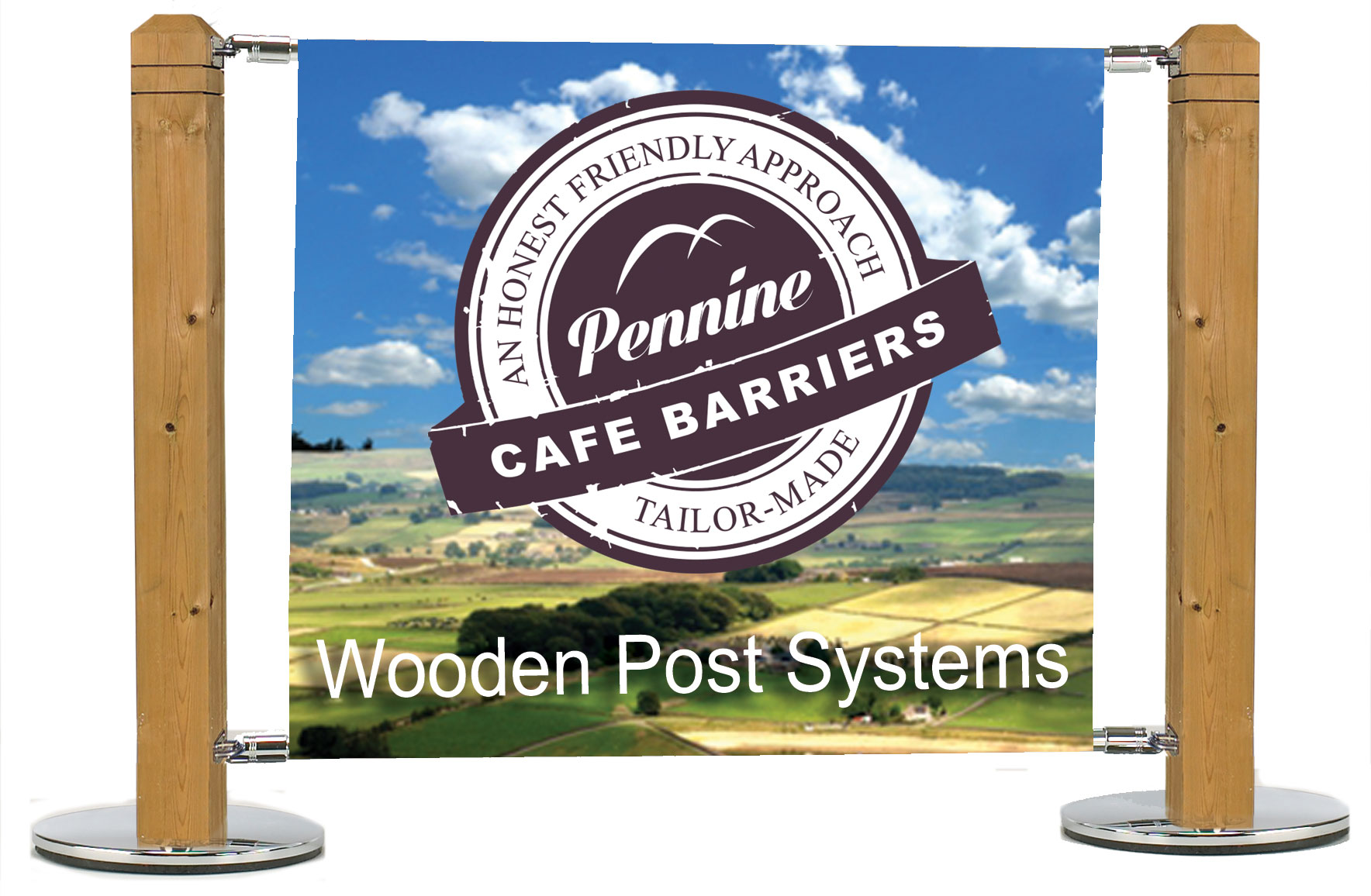 cafe barrier and cafe banner wooden posts systems