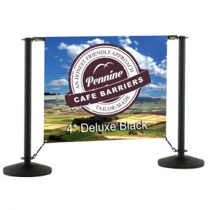 Cafe Barriers and Cafe Banners From Pennine Cafe Barriers - 4* Deluxe Black Cafe Barrier System 1
