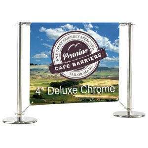 Cafe Barriers and Cafe Banners From Pennine Cafe Barriers - 4* Deluxe Chrome Cafe Barrier System 1