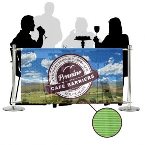 Cafe Barriers and Cafe Banners From Pennine Cafe Barriers - Premium Digital Printed Full Colour Mesh PVC Banner 1