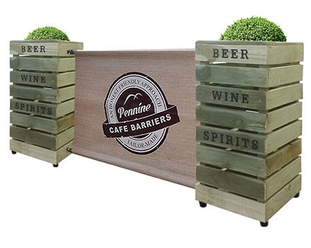 Cafe Barriers and Cafe Banners From Pennine Cafe Barriers - premium- rustic pallet style planter category