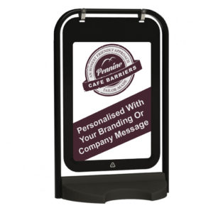 Cafe Barriers and Cafe Banners From Pennine Cafe Barriers Eco Swinger Pavement Sign 1