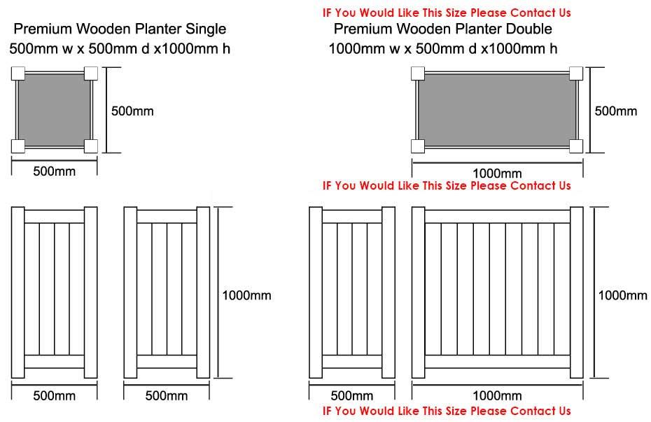Premium Wooden Planters Dimensions